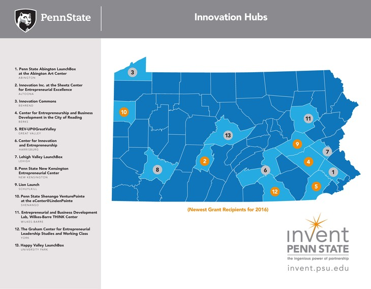 graphic displaying newest innovation hubs