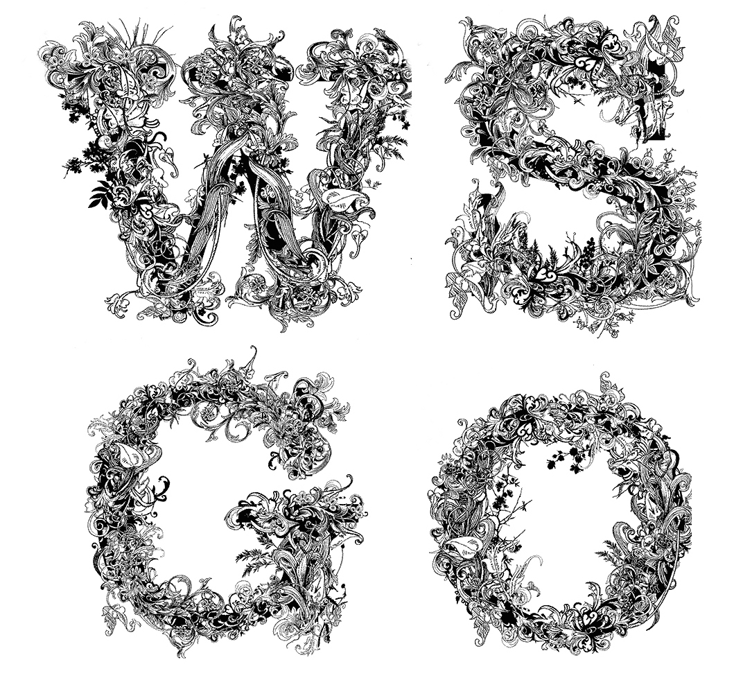 decorative capital initials W, S, G and O to represent Women's Studies Graduate Organization