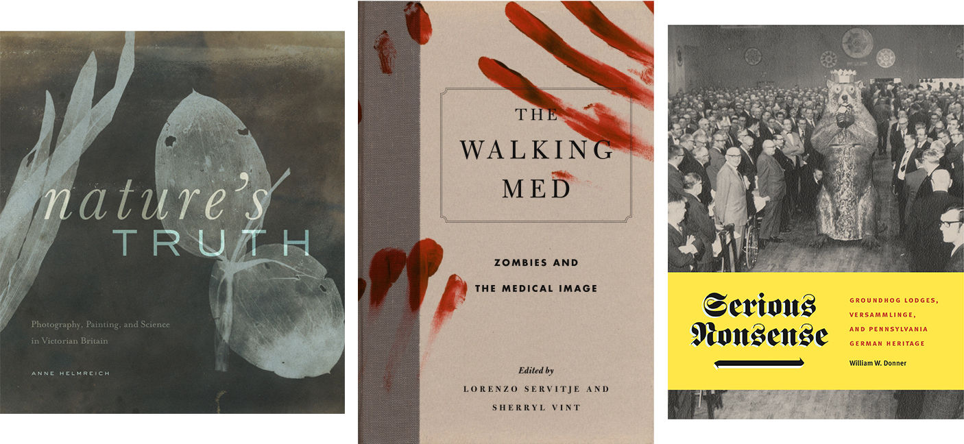 cover images of three of the five Penn State University Press books selected for the Association of American University Presses design show