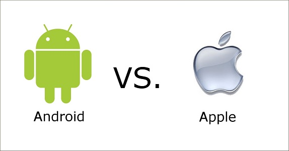graphic showing android logo versus apple logo for article discussing advantages and disadvantages of both