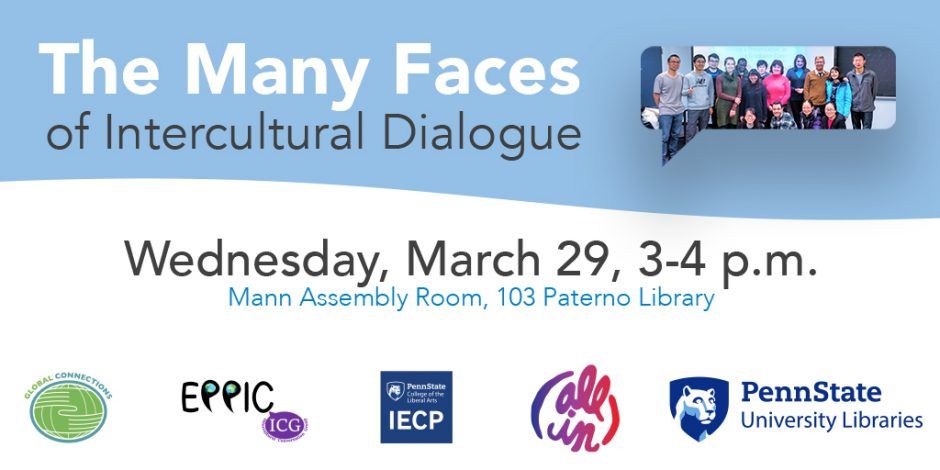 promotional graphic for intercultural dialogue event on March 29