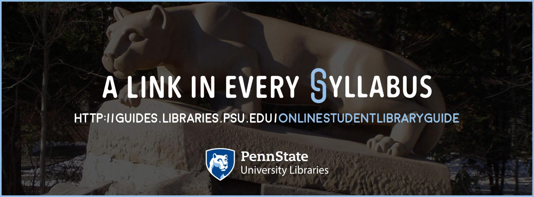 promotional graphic for faculty to include a link to the libraries for students in online learning environments