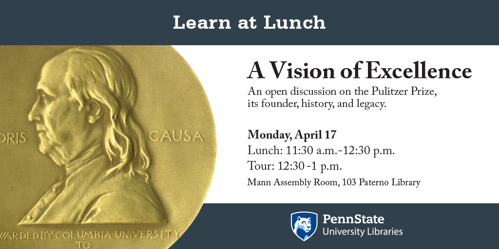 promotional graphic for learn at lunch program on Pulitzer Prize