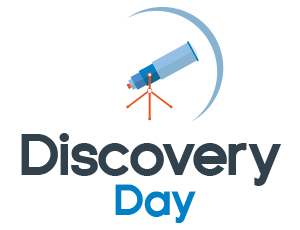graphic illustration for Discovery Day with telescope icon