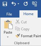 screenshot of Microsoft Word home tab menu