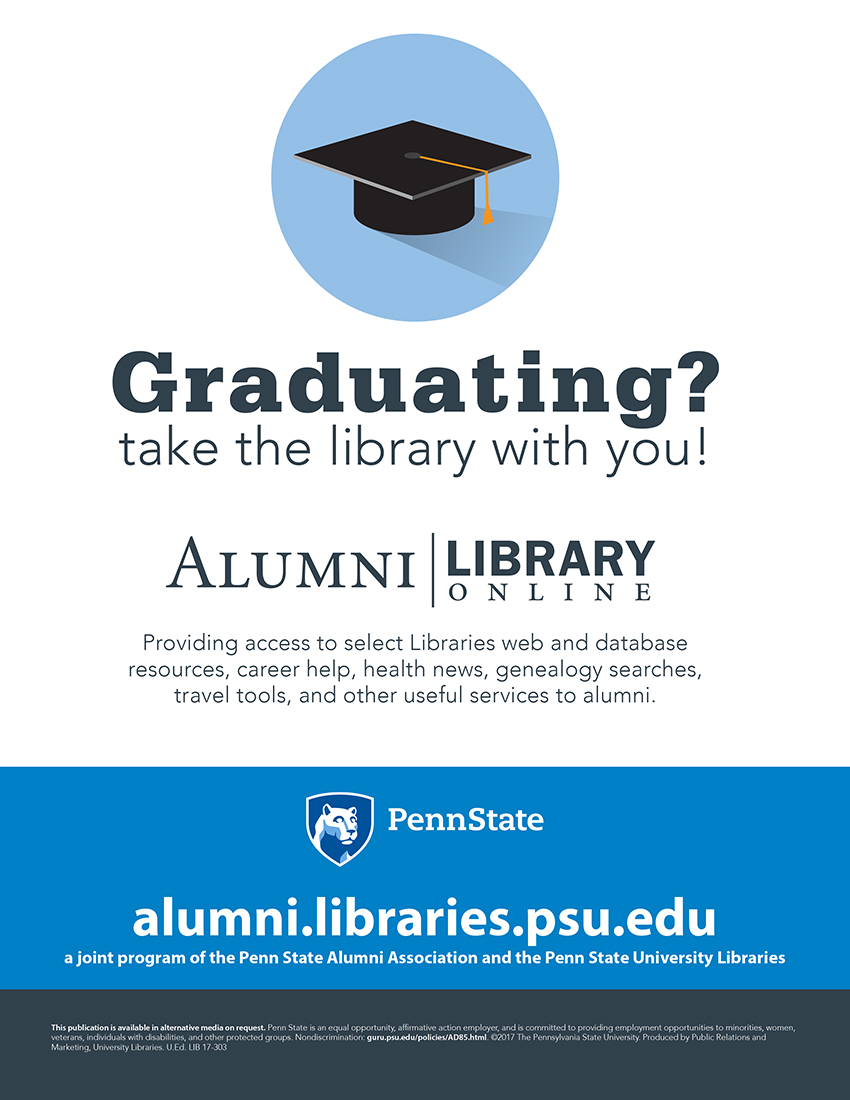 promotional graphic for Alumni Library, a benefit of the Alumni Association and partnership between the Alumni Association and University Libraries