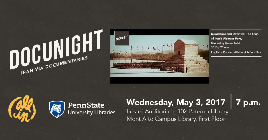 promotional graphic for Docunight: Iran via Documentaries monthly film screening