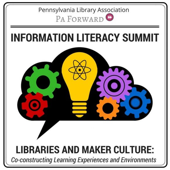 square image with yellow light bulb and multicolored gears graphic, with text about theme of 2017 information literacy summit for Pennsylvania librarians