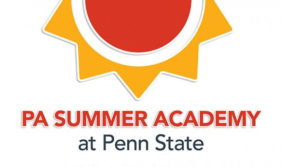 orange sun with triangular yellow rays with text below for Pennsylvania Summer Academy at Penn State