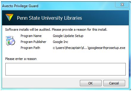 screenshot of software audit and reason panel