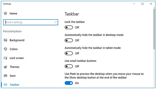 screen capture showing windows 10 settings box with white background, personalization menu in left column and Taskbar options in right column of screen