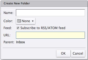 screen capture of UCS email platform noting new folder box with checkbox to subscribe to new RSS/ATOM feed