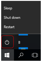 screen capture showing Windows 10 view and button selection to shut down