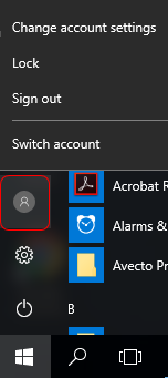 screen capture showing Windows 10 view and button selection to sign out