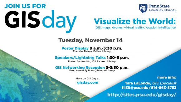 "GIS Day flyer - Tuesday, November 14, ""Visualize the World"""