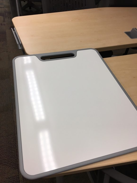 photo of a clean whiteboard