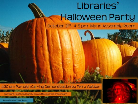 Libraries Halloween Party, Oct. 31 4-5 p.m.