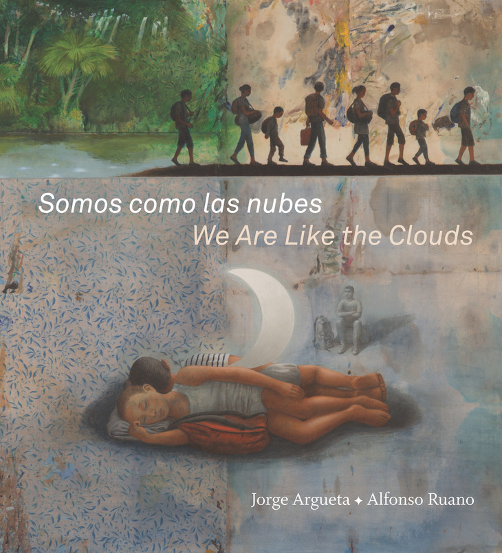 "cover image title ""Somos como las nubes/We Are Like the Clouds"" shows silohouettes of people with packages walking in a row plus two children sleeping under the moon, illustrator Alfonso Ruano"
