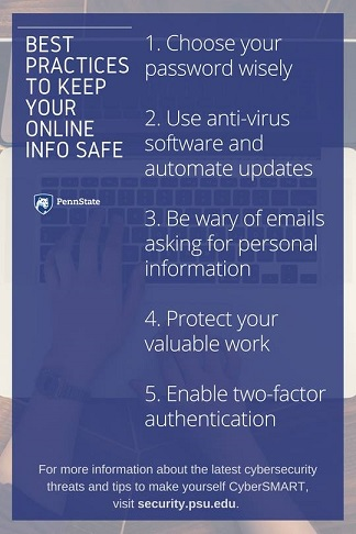 "graphic image of ""keep your online info safe"" guidelines"