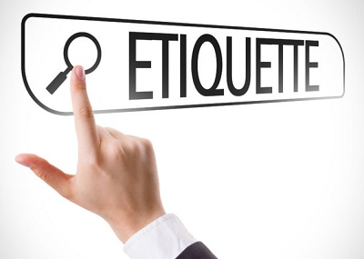 "clip art of a hand pointing to a sign that reads ""etiquette"""
