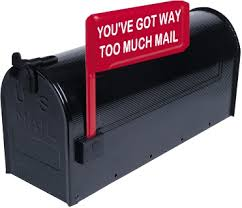 """image of a black mailbox with a flag that says """"you've got way too much mail"""""""