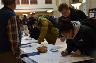 students writing thank you notes on Day of Philanthropy in Pattee Library