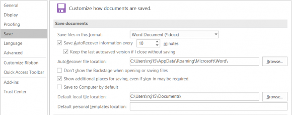 """Microsoft Office screen shot: """"Customize how documents are saved"""""""