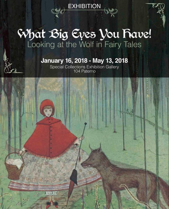 """""""What Big Eyes You Have! Looking at the Wolf in Fairy Tales"""" exhibition, image from """"The Fairy Tales of Charles Perrault,"""" illustration by Harry Clarke"""