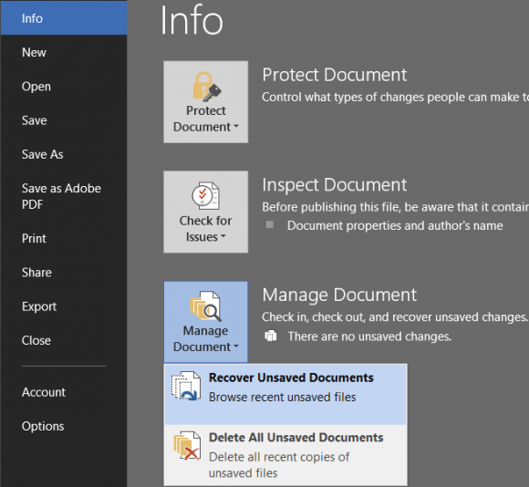 "Word screen shot ""Recover unsaved document"""