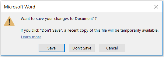 """Word screen shot """"want to save your changes to document?"""""""