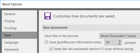 """Word screen shot """"customize how documents are saved"""""""""""