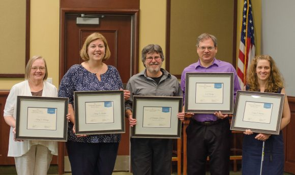 2018 University Libraries Award winners from left: Marry Murray, Sherry Lonsdale, Christopher Holobar, Eric Novotny and Emily Rimland.