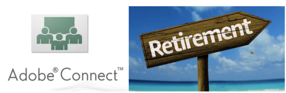 tech tip graphics: Adobe Connect logo and Retirement sign