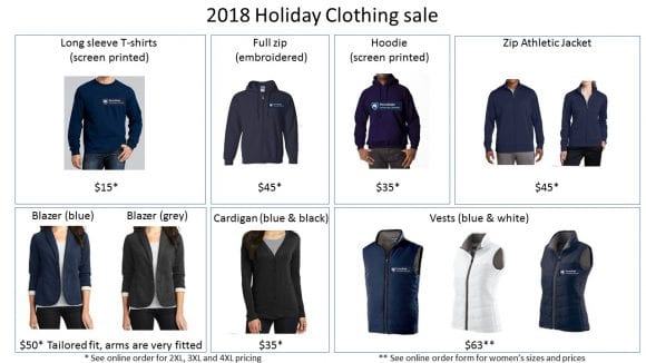 United Way clothing order form and pricing
