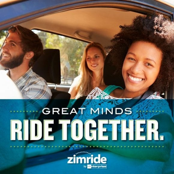 "Zimride graphic ""Great minds ride together"""