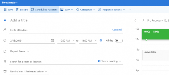 tech tip screen shot of Outlook calendar