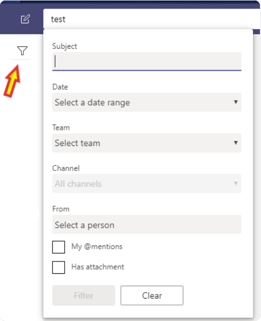 Microsoft Teams search screenshot
