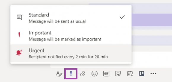 Microsoft Teams urgent screen shot