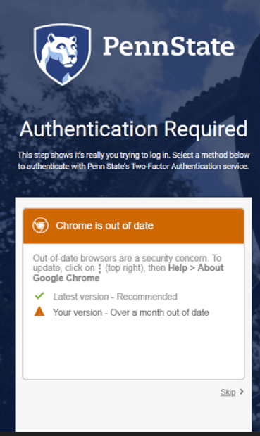 """Authentification Requited"" screen shot for tech tip"