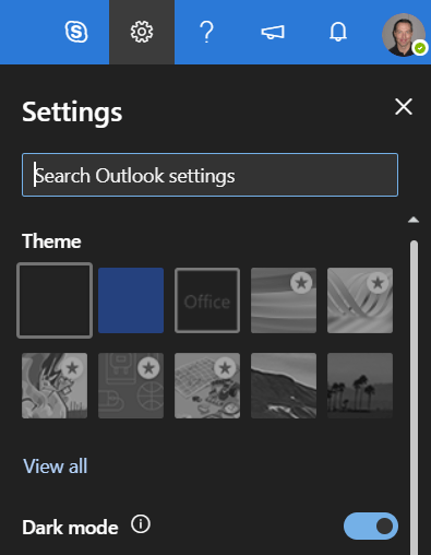 outlook settings screen shot for tech tip