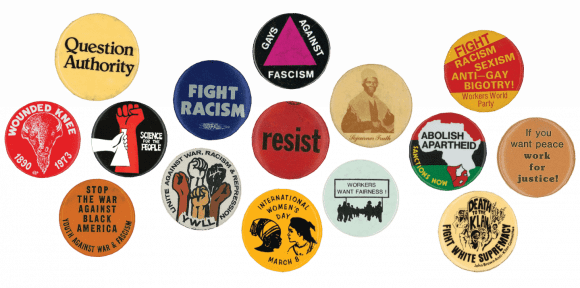 buttons from INTERNATIONAL SOLIDARITY: Highlights From the Ken Lawrence Collection