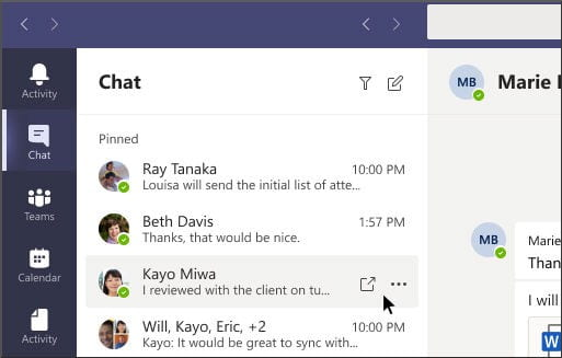 Teams chat screenshot for tech tip