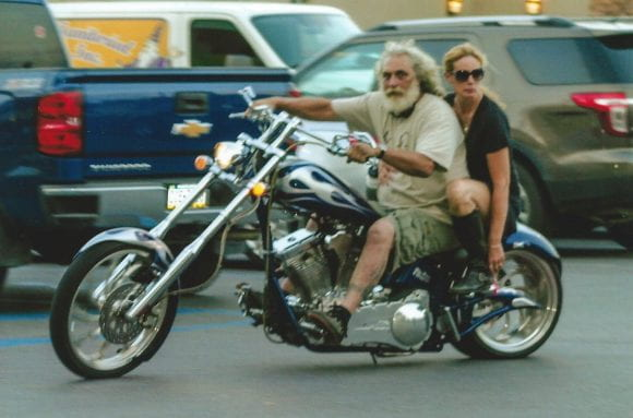 Linda Struble and Ed on motocycle photo
