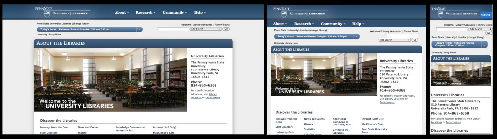 Examples of responsive design on three screen sizes