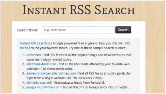 instant rss search