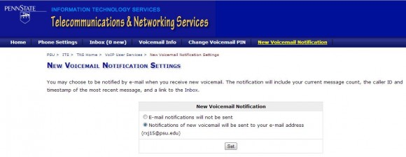 voicemail notification settings