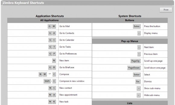 zimbra shortcuts