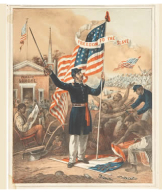 illustration of soldier with flag