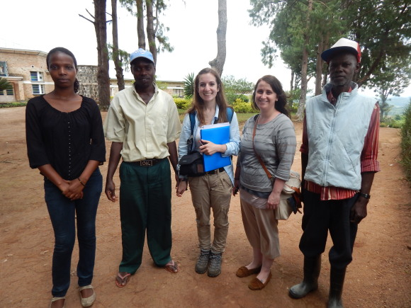 Kira Hydock (center) during her visit to Rwanda