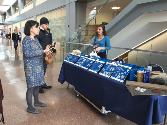 Karen Serago, academic adviser at the Smeal College of Business, and Dan Cahoy, professor of business law and a member of the college's sustainability board, learned about the recycling and composting roadshow tool from Kaitlynn Hamaty, intern at the Sustainability Institute.